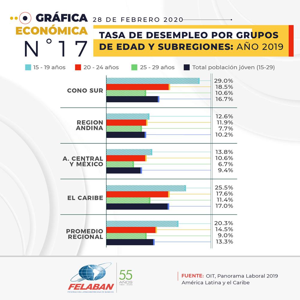 Gráfica Económica Nro 17-2 - Tasa de Desempleo por Grupos de Edad y Subregiones: Año 2019